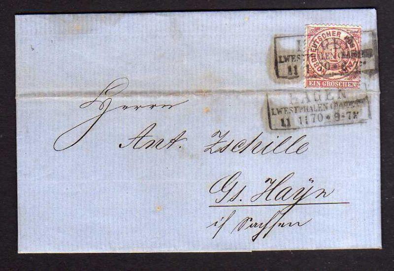 Faltbrief NDP Hagen Westphalen 1870