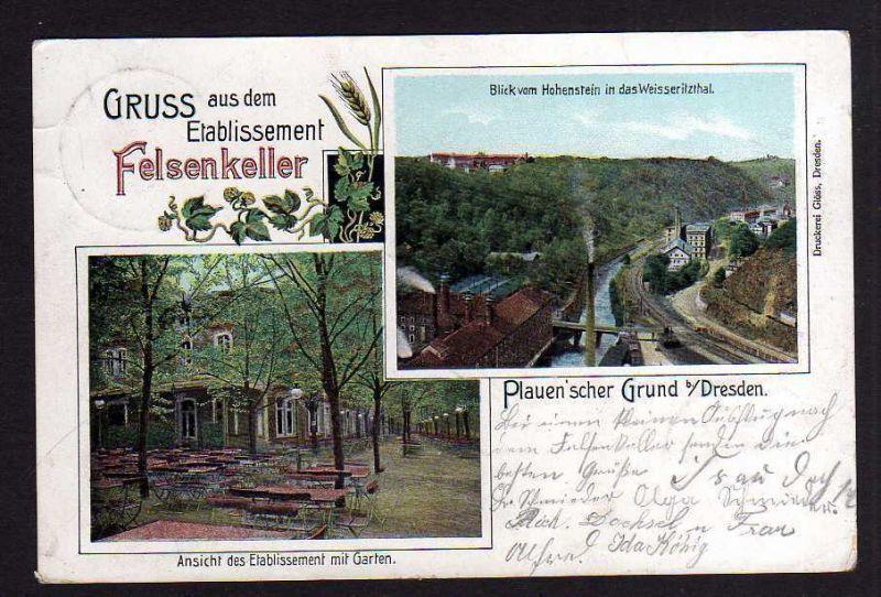Ansichtskarte Dresden Etablissement Felsenkeller Plauenscher Grund Weisseritztal 190