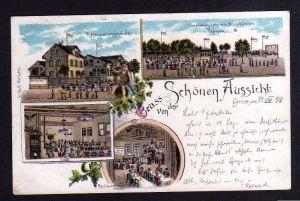 Ansichtskarte Giessen Gießen Litho 1898 Restaurant Schöne Aussicht Gartenwirtschaft