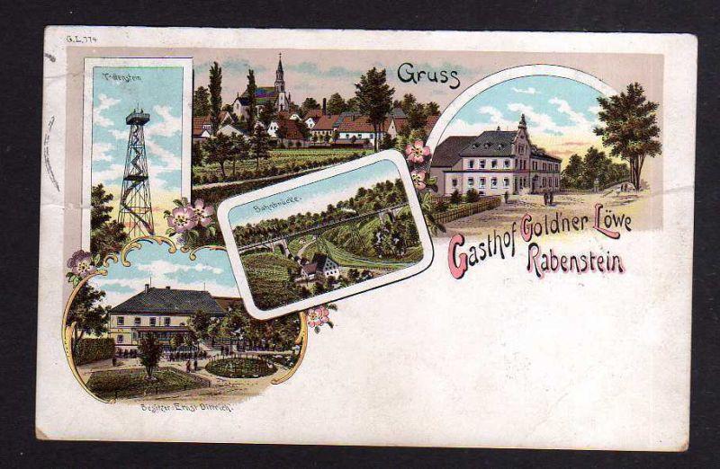 Ansichtskarte Rabenstein Litho 1899 Gasthof Goldner Löwe Bahnbrücke Aussichtsturm To