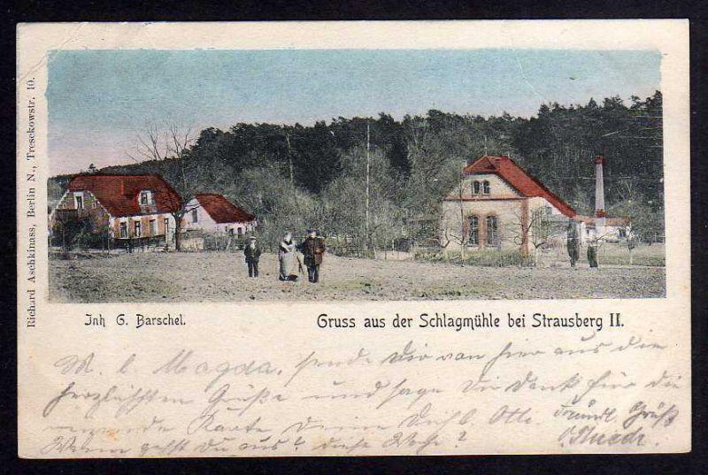Ansichtskarte Schlagmühle bei Strausberg II Gasthof Gaststätte 1904