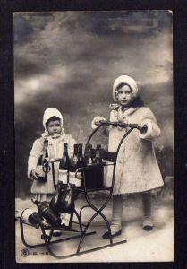Ansichtskarte Ober Ingelheim 1908 Fotokarte Kinder mit Wein Schlitten Deko