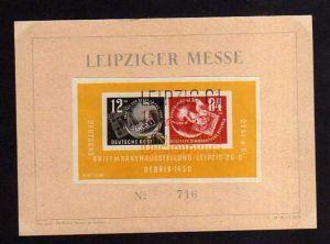 DDR Block 7 Gedenkblatt Leipziger Messe No. 719 mit Dreifarben SST Debria