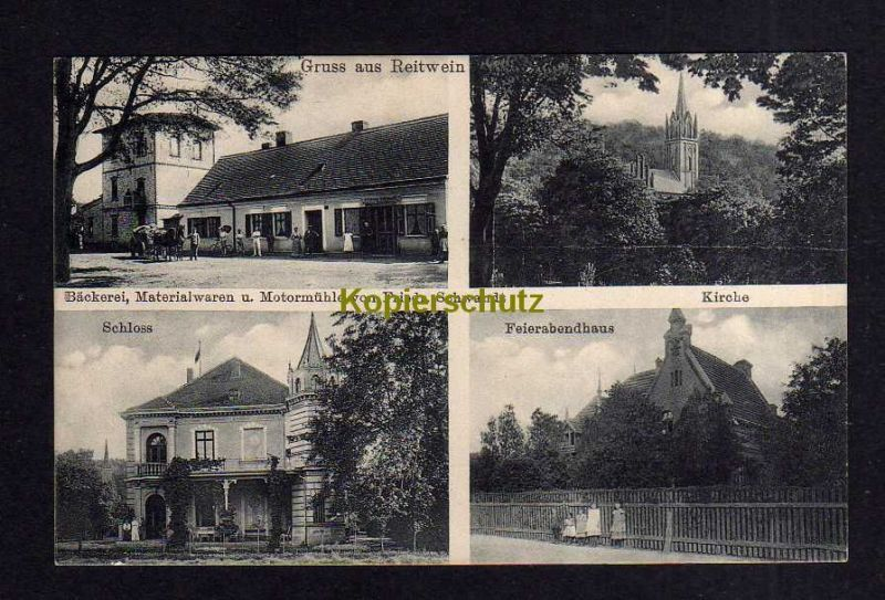 Ansichtskarte Reitwein bei Lebus 1914 Schloss Kirche Bäckerei Materialwaren Motormüh