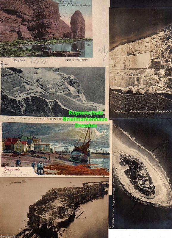 6 Ansichtskarte Helgoland Luftbild Fotokarte um 1920 Befestigungsanlagen Düne Litho