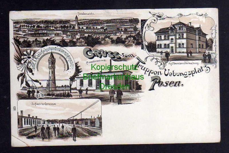 Ansichtskarte Posen Litho um 1900 Truppen Übungsplatz Wasserturm Maschinenhaus Verwa