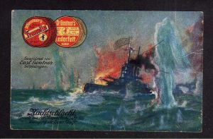 Ansichtskarte Skagerrakschlacht 1916 Untergang Queen Mary Reklame Gentners Lederfett