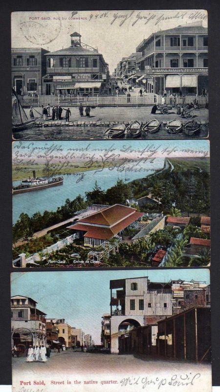3 Ansichtskarte Port Said 1906 1912 Rue du Commerce Native quarter