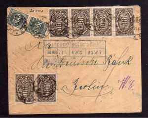 DR 6x 254 2x 273 Brief Deutsche Bank Essen 1923 nach Berlin