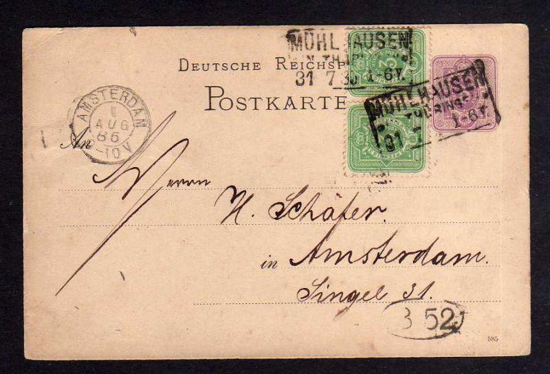DR 2x 39 auf Ganzsache Mühlhausen Thür. nach Amsterdam 1885