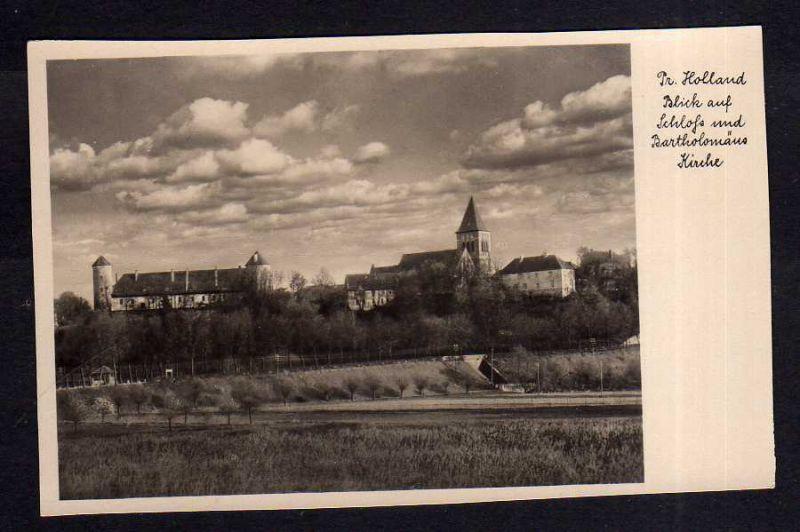 Ansichtskarte Preußisch Holland um 1935 Schloß und Bartholomäus Kirche