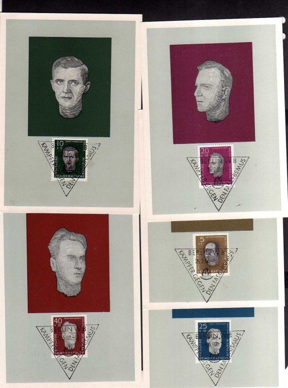 5 Maximumkarten DDR 1960 752 - 758 Antifaschisten Aufbau Nationaler Geden