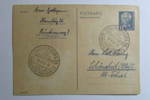 DDR Ganzsache P 49 A Antwortteil 1952 aus Hamburg nach Schönebeck  SST