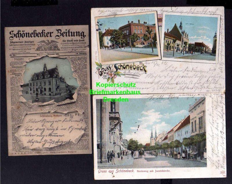 3 Ansichtskarte Schönebeck Elbe 1901 Salzamt Markt Rathaus Schönebecker Zeitung Brei 0