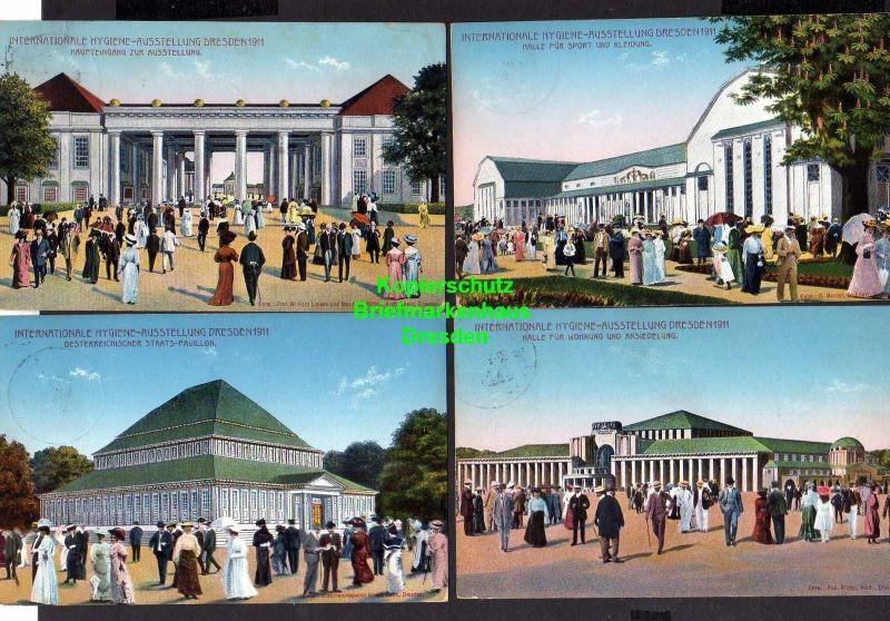 13 Ansichtskarte Dresden 1911 Intern. Hygiene Ausstellung Offizielle Postkarte SST