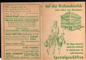 Klappkarte Reklame Karlsruhe Zeumer Pelze Nähmaschine Pfaff Schuh Zepf