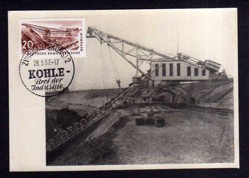 Maximumkarten DDR 570 Braunkohle Kohlebergbau Förderbrücke 1957 seltene p