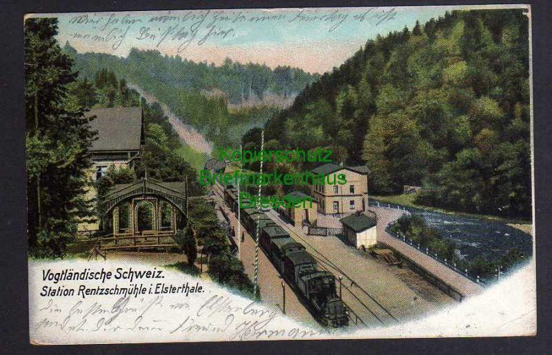 Ansichtskarte Vogtländische Schweiz Bahnhof Station Rentzschmühle im Elsterthale 190 0