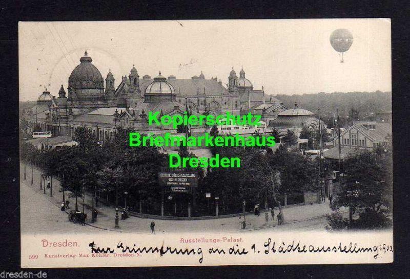 Ansichtskarte Dresden 1903 Ausstellungspalast Sonderstempel SST Deutsche Städteausst