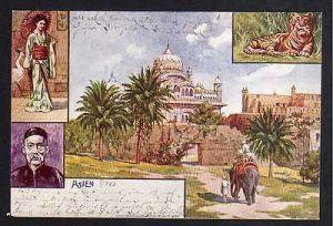 Ansichtskarte Asien 1903 Tiger Elefant Japanerin China Chinese