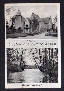 Ansichtskarte Schloss Gohren Kr. Stolp in Pommern Mühle mit Teich um 1940