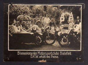 Foto DKW Motoren Motorsportclub Bielefeld Blumenkorso 1928 Rasmussen