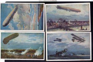 9 Ansichtskarte Deutscher Luftflotten Verein Zeppelin Künstlerkarte H.-R. Kunze fess