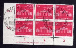 DDR 665 Brandenburger Tor 1958 DV gestempelt SST ungefalten nicht angetrennt
