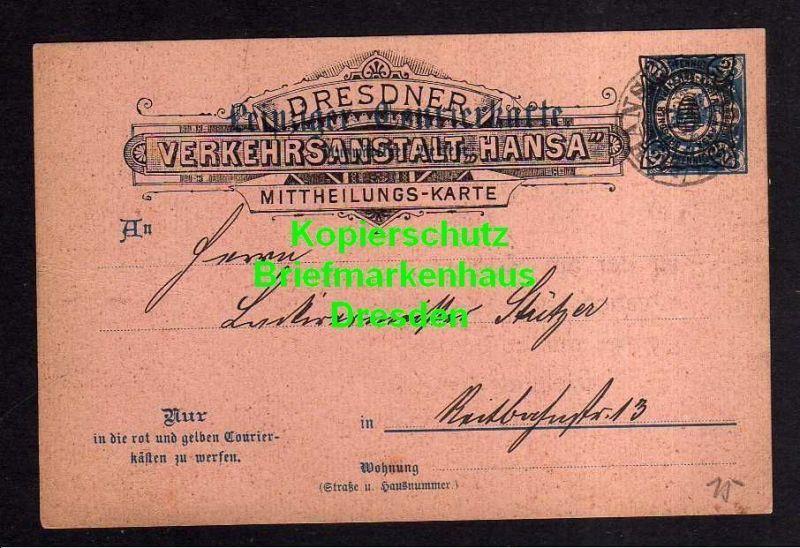 Privatpost Hansa Dresden 1893 Überdruck auf Leipziger Courier Karte Lacki