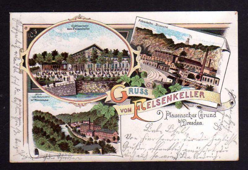Ansichtskarte Plauenscher Grund bei Dresden Felsenkeller Brauerei 1899 Litho Etablis