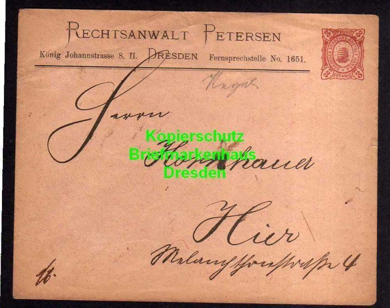 Privatpost Hansa Dresden um 1890 Ganzsache Rechtsanwalt Petersen König Jo