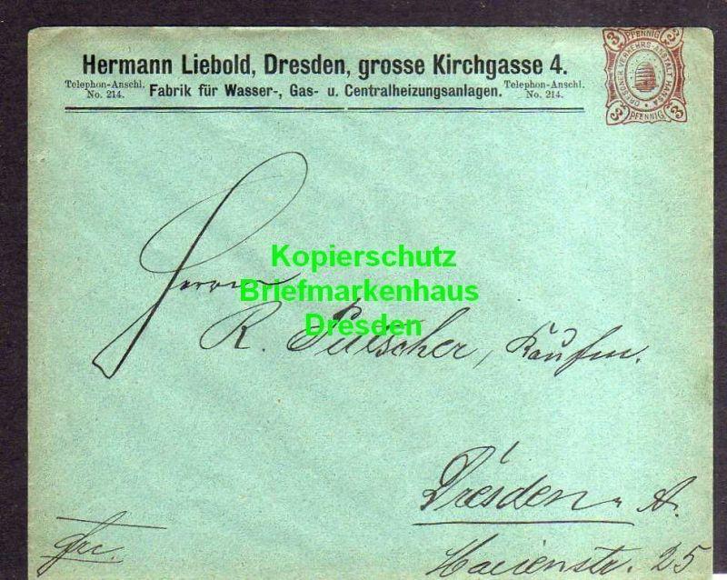 Privatpost Hansa Dresden um 1890 Ganzsache Hermann Liebold Heizungsbau