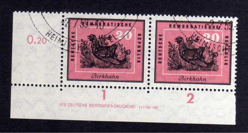 DDR 701 Vögel Birkhuhn 1959 DV gestempelt SST ungefalten nicht angetrennt Zä
