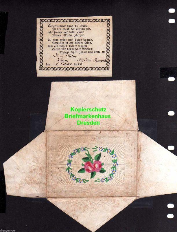 Taufbrief 1843 mit Spruchzettel Patenbrief Zöpen Rose + farblose Prägung