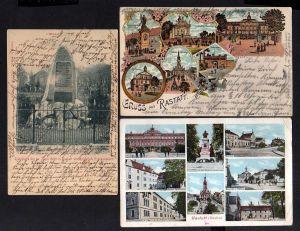 3 Ansichtskarte Rastatt Mehrbild Litho 1906 Grabmal Ruhestätte der standrechtlich er