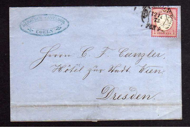 DR 19 auf Faltbriefhülle Hufeisenstempel Köln 1873