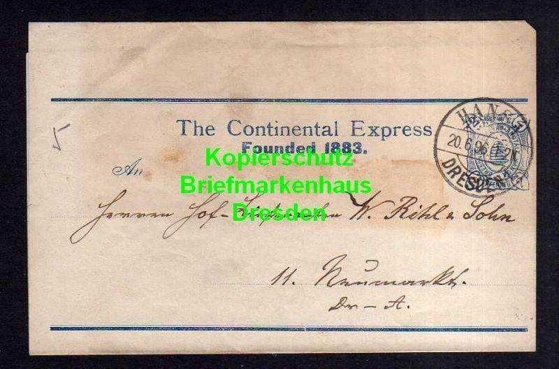 Privatpost Hansa Dresden 1896 Streifband The Continental Express