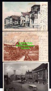 3 Ansichtskarte Erfurt 1904 Villen bei d Pförtchenbrücke Dom Fotokarte Bahnhofsplatz