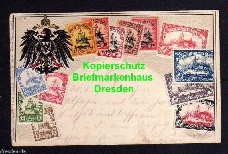 Ansichtskarte Deutsch Südwestafrika 1906 Ramansdrift DSW Karte Wappen und Marken gep
