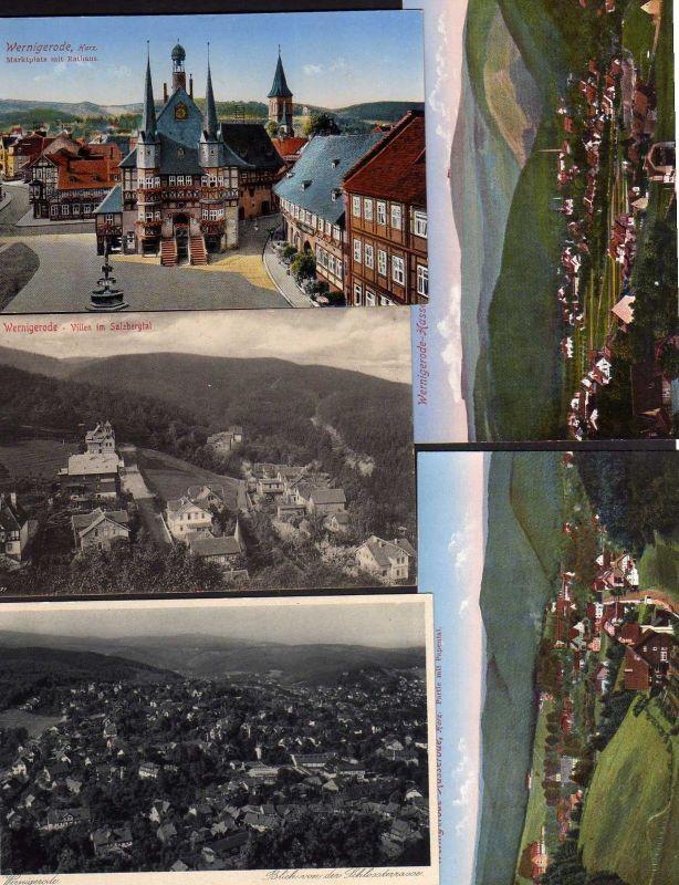 5 Ansichtskarte Wernigerode Hasserode Poppental Vollen Salzbergtal 1912 Markt Rathau
