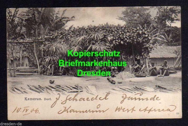 Ansichtskarte Kamerun Jaunde West Afrika Dorf 1906 Drucksache