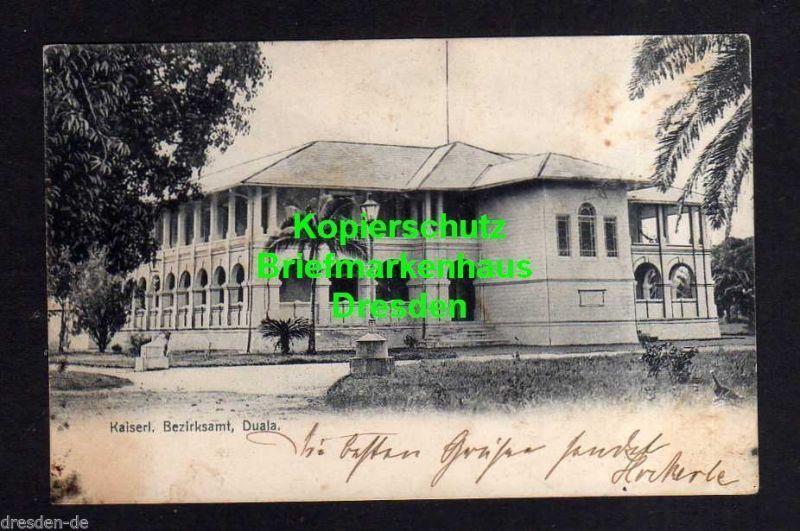 Ansichtskarte Kamerun Kaiserl. Bezirlsamt Duala 1905 Seepost Deutsches Schutzgebiet