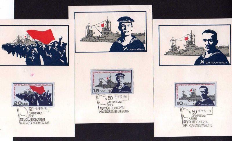 3 Maximumkarten DDR 1967 1308 - 1310 Reichpitsch Matrosenbewegung