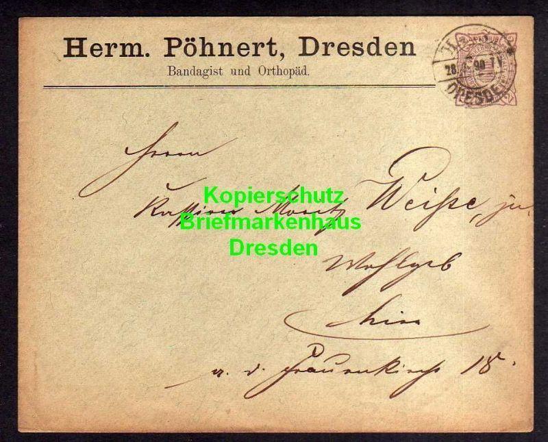 Privatpost Hansa Dresden 1890 Ganzsache Herm. Pöhnert Bandagist und Ortho