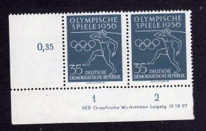 DDR 540 Olympische Spiele 1956 DV ** ungefalten nicht angetrennt Zähnungsvar