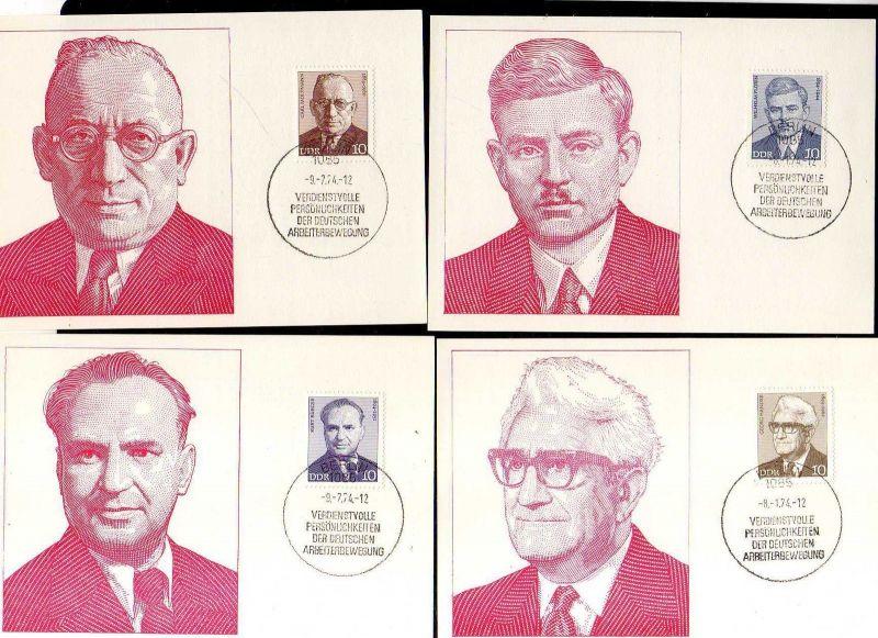 8 Maximumkarten DDR 1974 1907 - 1914 Persönlichkeiten