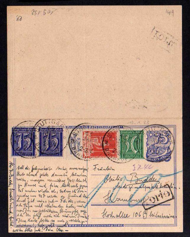 Antwortganzsache DR 1923 Bedarf mit Zusatzfrankatur Nachporto hoher Miche