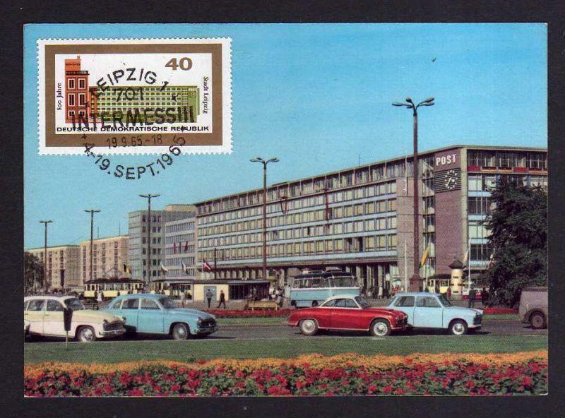 Maximumkarte DDR 1965 1128 Messe Herbstmesse Autos vor Neuer Post