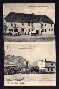 Ansichtskarte Lütte Bad Belzig Gasthaus Gastwirtschaft Materialwarenhandlung Schloss