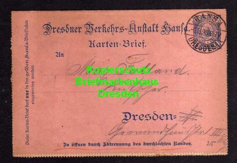 Privatpost Hansa Dresden 1898 Ganzsache K12 Kartenbrief
